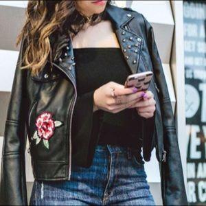 Zara embroidered leather jacket